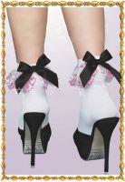 Носочки с розовыми кружевами и бантиками (черными, красными) Beileisi