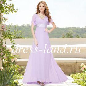 Светло-фиолетовое платье со шлейфом