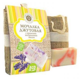 Мочалка джутовая с натуральным мылом  Роза