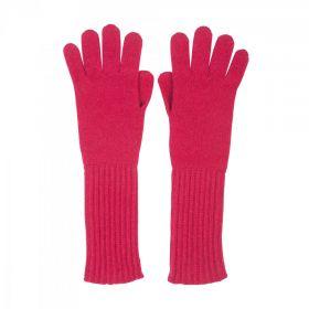 длинные кашемировые перчатки женские (100% драгоценный кашемир) , цвет Клюквенный CASHMERE RIB CUFF GLOVE Cranberry