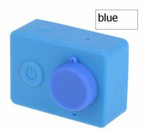 Силиконовый чехол и крышка на объектив Xiaomi Yi (синий)