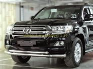 Защита переднего бампера двойная 76х60мм  для Toyota Land Cruiser 200 2015 -