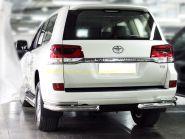 Защита заднего бампера уголки двойные 76х43 мм для Toyota Land Cruiser 200 2015 -