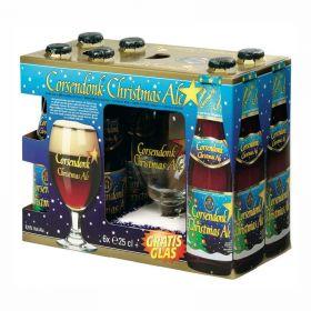 Набор пивной Corsendonk Christmas Ale (Корсендонк Кристмас Эль) 6 бут*0,25 л + фирменный бокал в подарочной упаковке