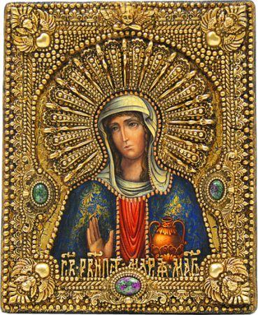 """Икона именная """"Мария Магдалина"""" 19 х 23 см, роспись по дереву, самоцветы"""