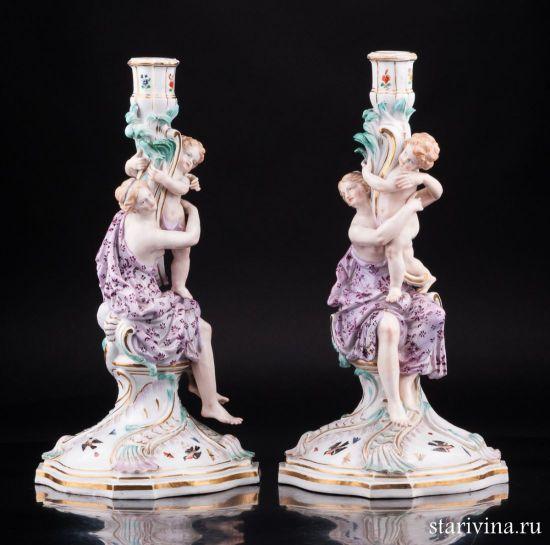 Фарфоровая статуэтка Девушки с путти, два подсвечника производства Meissen, Германия, 19 в.