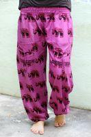 Индийские штаны шаровары со слонами; хлопок. Женская модель