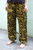 Чёрные индийские штаны шаровары с цветным рисунком