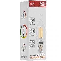 Свеча на ветру Iteria 5W E14 2700K прозрачная (теплый свет)