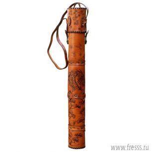 """Шампура подарочные """"Дракон"""" в тубусе из натуральной кожи, рукояти латунь"""