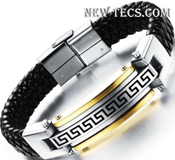Кожаный браслет с орнаментом Versace