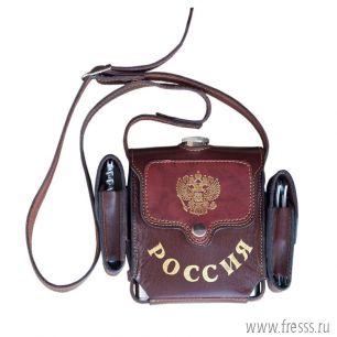 """Фляжка походная подарочная 0,53л. """"Россия"""" (нож, штопор)"""