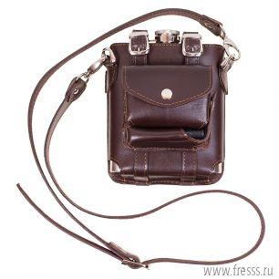 Фляжка походная подарочная 0,53л. с карманами для сигарет и зажигалки