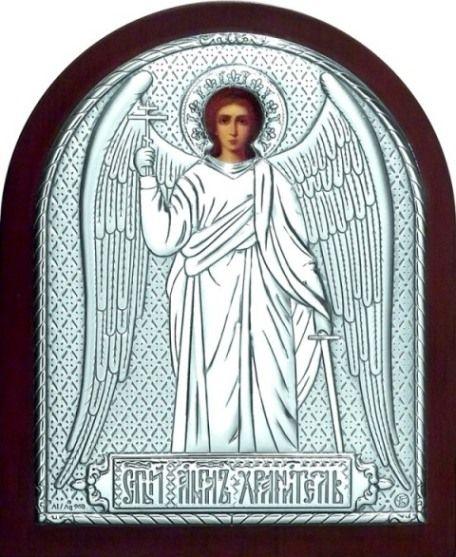 Серебряная икона Ангела Хранителя (12*16см., Россия) в дорожном футляре