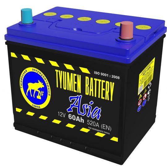 Автомобильный аккумулятор АКБ Тюмень (TYUMEN BATTERY) ASIA 6CT-60L 60Aч П.П. нижнее крепление