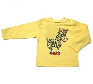 Лонгслив детский желтый в зеброй на груди от Клевер