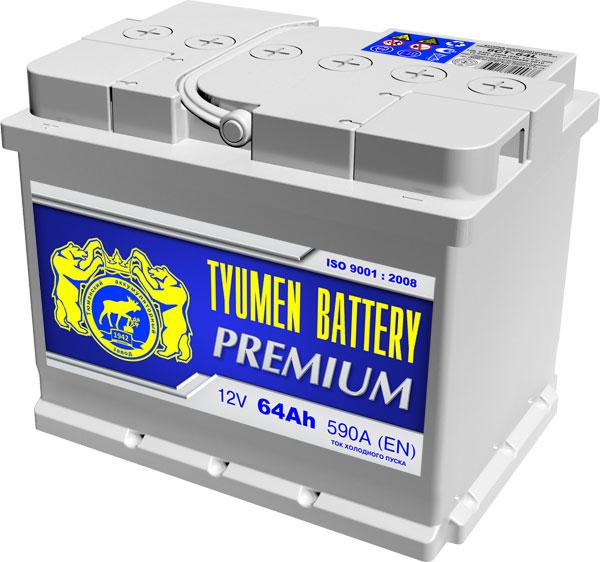 Автомобильный аккумулятор Тюмень Премиум (TYUMEN BATTERY) PREMIUM 6СТ-64L 64Aч П.П. дата 04.17