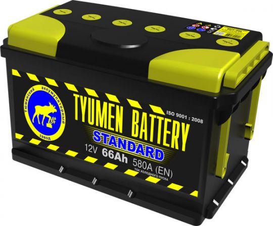 Автомобильный аккумулятор АКБ Тюмень (TYUMEN BATTERY) STANDARD 6CT-66L 66Aч П.П. (низкий)