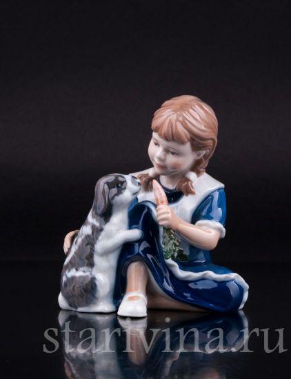Изображение Девочка с кроликом, Royal Copenhagen, Дания
