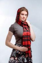 клетчатый кашемировый тёплый шарф (100% драгоценный кашемир) , расцветка Королевский клан Стюартов Royal Stewart tartan, плотность 7
