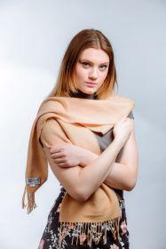 шарф 100% шерсть ягнёнка , Песочно-бежевый цвет Natural  ,плотность 6