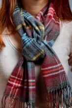 шарф 100% шерсть ягнёнка, расцветка шотландской деревушки Инш Insch Check, плотность 6