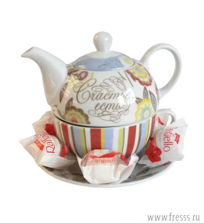 """Подарок чайная пара """"Счастье есть"""" на 1 персону"""