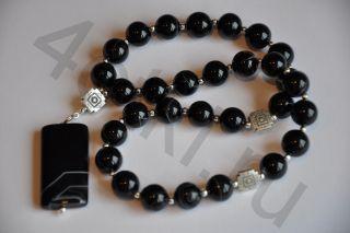 Четки из натурально камня- черный Агат