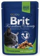 Консервы для стерилизованных кошек Brit Premium Pouch Chicken Slice for Sterilized Курица 100 г.