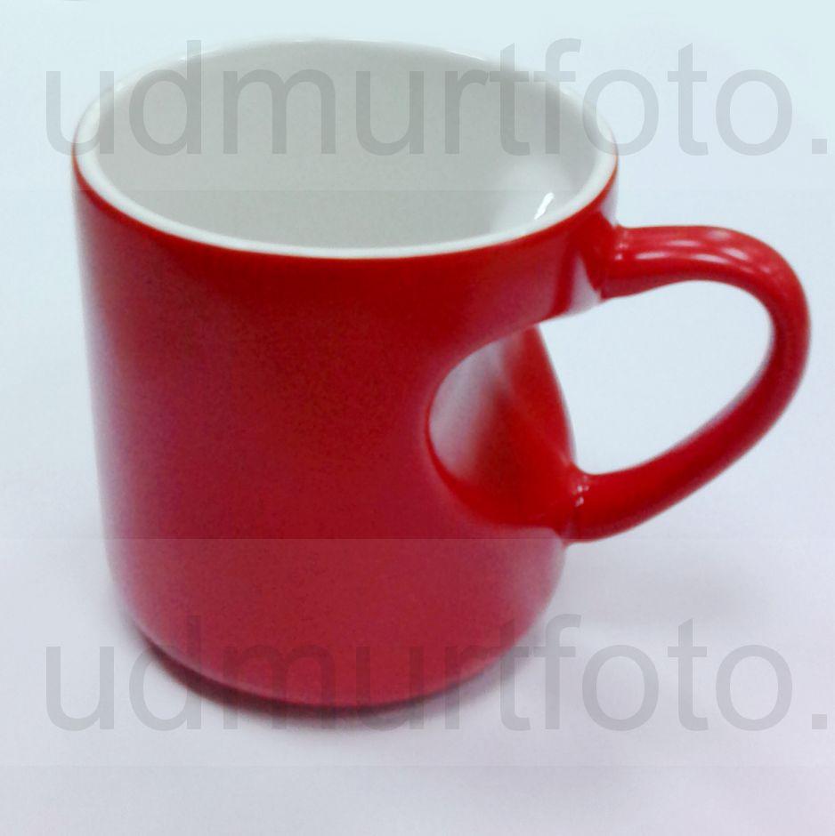 Кружка ХАМЕЛЕОН красная  с ручкой и корпусом  в виде СЕРДЦА .Цена за кружку с Вашим изображением