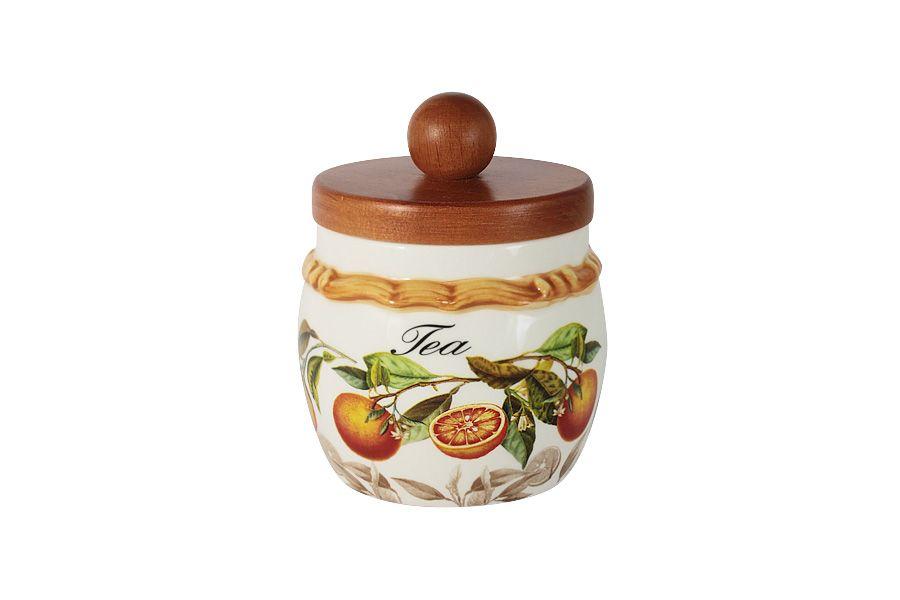 """Банка для сыпучих продуктов с деревянной крышкой (чай) """"Апельсины"""", 0.5 л"""