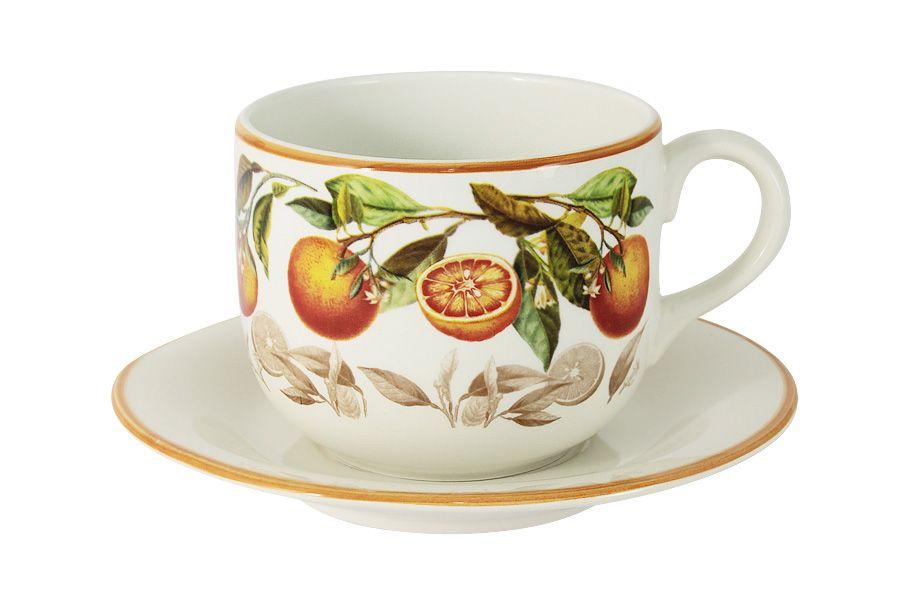 """Чашка с блюдцем """"Апельсины"""", 0.5 л"""