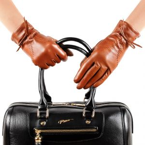 Перчатки женские 29К_40044_10_П; кожа; коньяк (Размер 7)