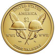 1 доллар США 2016 год Солдатские каски индейцев радистов участников I и II мировой войны