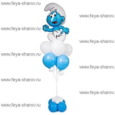 """Фонтан шаров """"Смурф"""""""