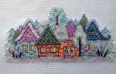 Схема для вышивки крестом Деревенька. Отшив