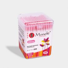 Maneki Палочки ватные гигиенические, серия Lovely, с розовым аппликатором и бумажным стиком, в пластиковой коробке, 150 шт./упаковка