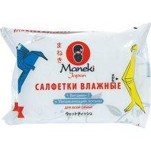 """Maneki салфетки влажные """"Kaiteki"""" для всей семьи с витамином Е и увлажняющим лосьоном, 25 шт"""