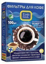 """TOP HOUSE Фильтры для кофе неотбеленные, размер """"1х4"""", 100 шт."""
