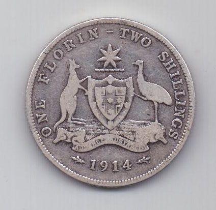 1 флорин 1914 г. редкий год. Австралия . Великобритания