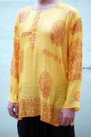 Лёгкая летняя мужская индийская рубашка из тонкого хлопка марлёвки