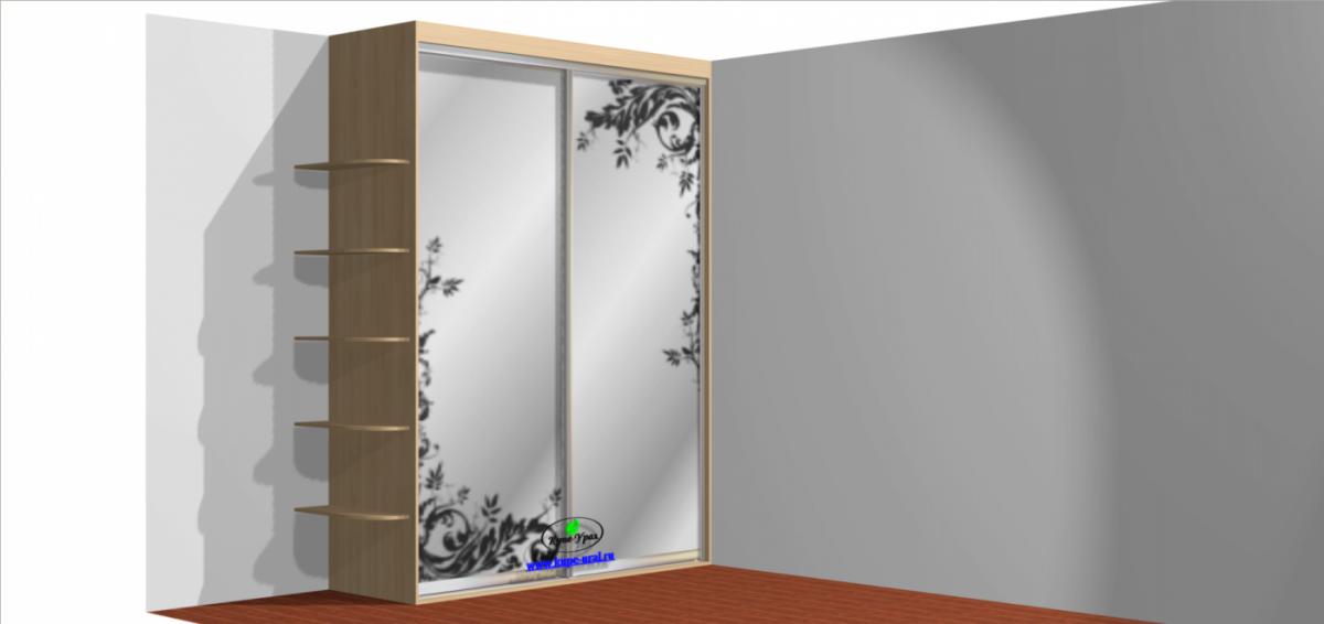 Встроенный шкаф купе - двухдверный с пескоструйным рисунком.