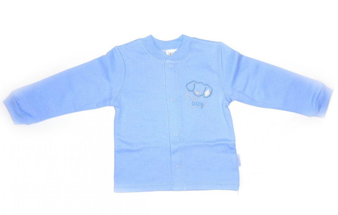 Голубая теплая рубашка с собачкой