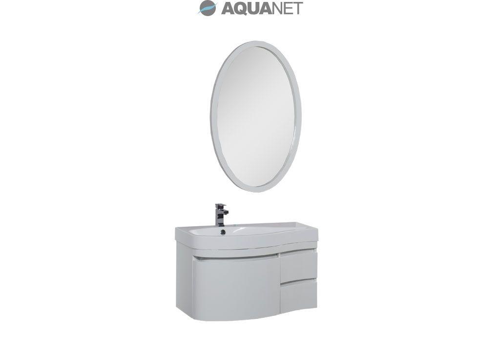 Комплект мебели Aquanet  Сопрано 95 левая с выдвижными ящиками, зеркало овальное, цвет белый (169440)