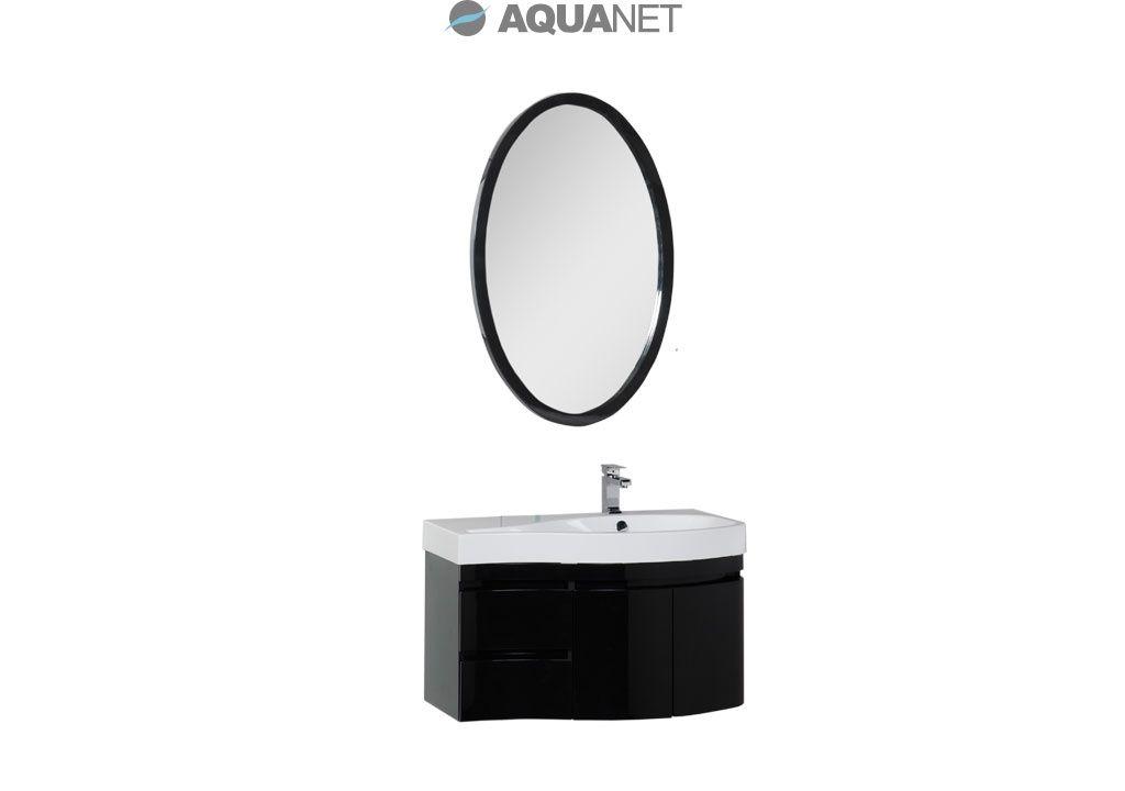 Комплект мебели Aquanet   Сопрано 95 правая распашные двери, зеркало овальное, цвет черный (169424)