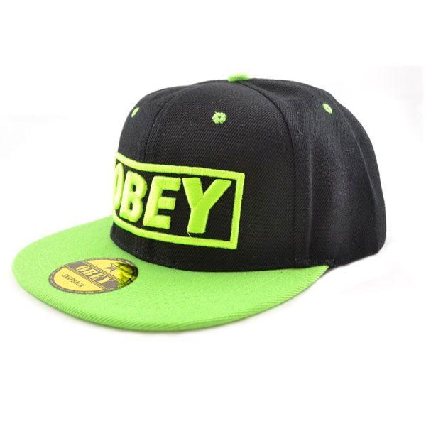 Кепка Obey (черная с зеленым козырьком)