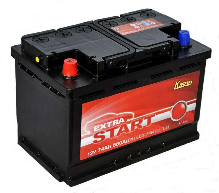 Автомобильный аккумулятор АКБ Extra START (Экстра Старт) 6CT-74 74Ач п.п.