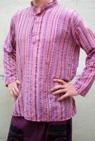 Лиловая (розовая) мужская рубашка в полоску, хлопок, Индия