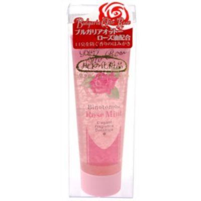 Fudo Kagaku Binotomo Rose Mint Освежающая зубная паста против неприятного запаха изо рта с ментолом и маслом болгарской розы 60 гр.