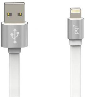 Кабель c Lightning 100см PQI  (made for iPhone,iPad, iPod) на USB двусторонний серебряный